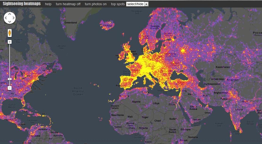 Sightmap: Italia y España entre los lugares más fotografiados del mundo según Google